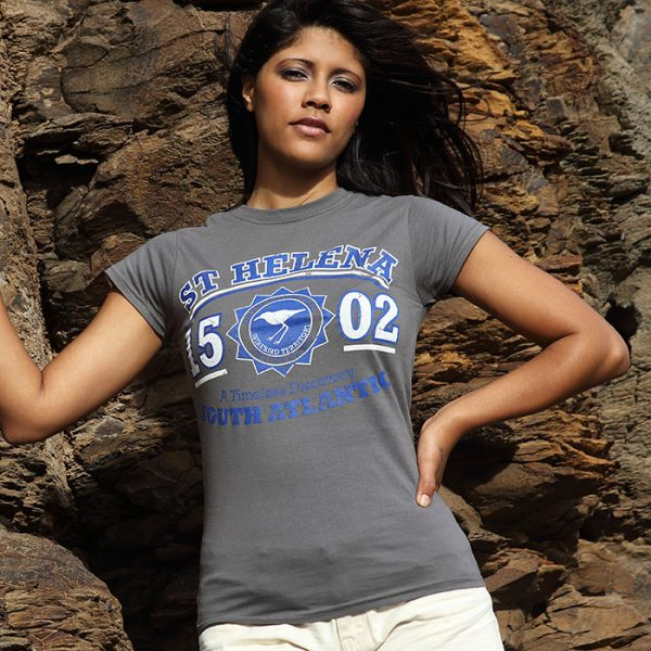 Ladies St Helena t-shirt DC charcoal blue white