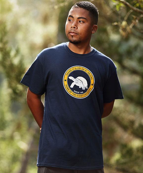 Mens St Helena t-shirt Aldabra design navy yellow white tortoise