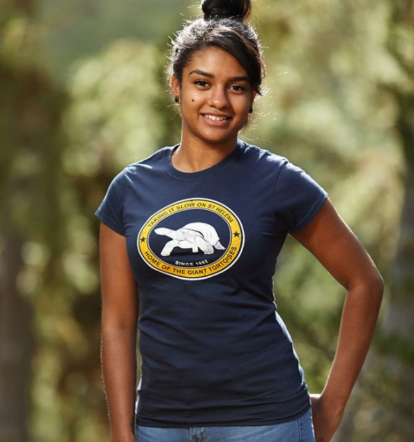 Ladies Aldabra St Helena t-shirt with giant tortoise