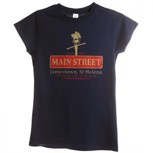 Ladies St Helena t-shirt navy NOLA design